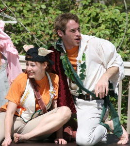 Brandon Crowder as Oberon and Kerry McGee as Puck in Richmond Shakespeare's Midsummer Night's Dream