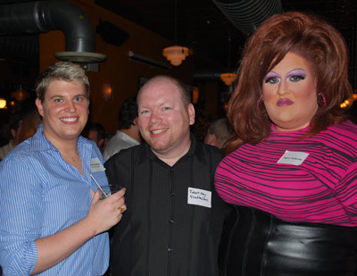 Mike Maszaros of Gay Pride VA, Robert Key of Fan Free Clinic, and Sharon Husbands were ready for the party.
