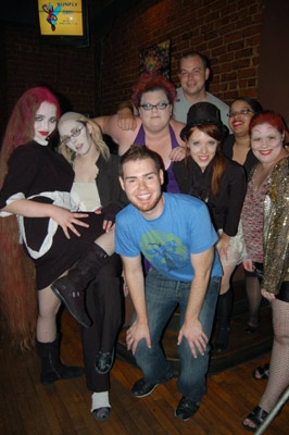 The Orgasmic Rush of Lust Cast with GayRVA Editor Kevin Clay and AIDSWalk Richmond Director Scott Sibley.