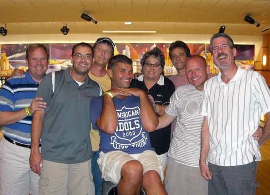 From left to right, Todd Taylor, Mike Weisbrod, Bobby Phillips, Kevin Overstreet, Shari Moran, Mark Stanley, David Albright, and Jay Squires